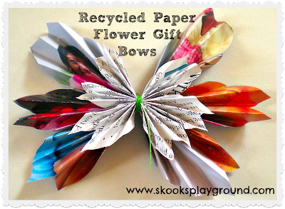 Tutorial: Recycled Paper Flower Gift Bows