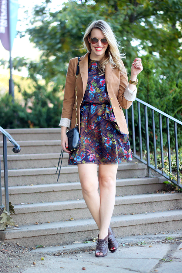 Joe Fresh Fall Floral Ruffle Dress