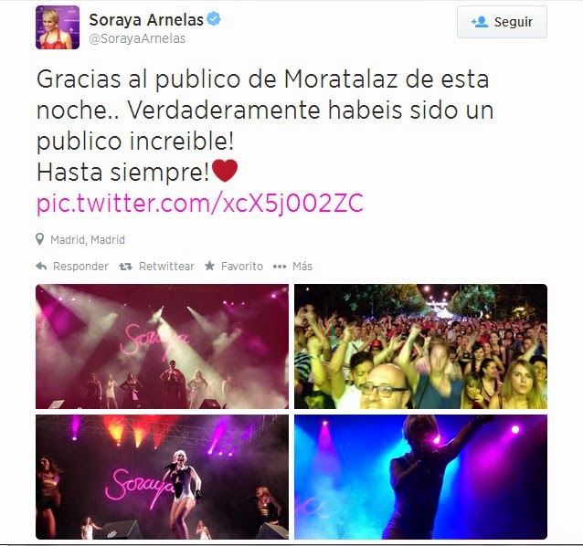 Soraya da las gracias al público de Moratalaz.