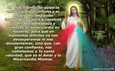 foto con oracion a jesus misericordioso