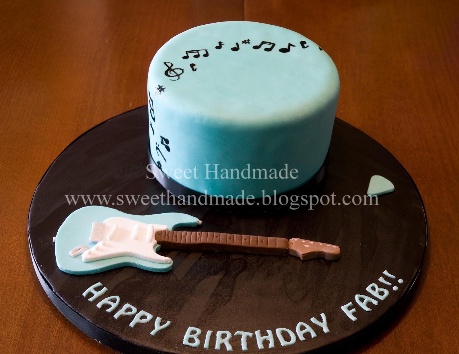 Sweet Handmade Cookies 40th Birthday Guitar Cake