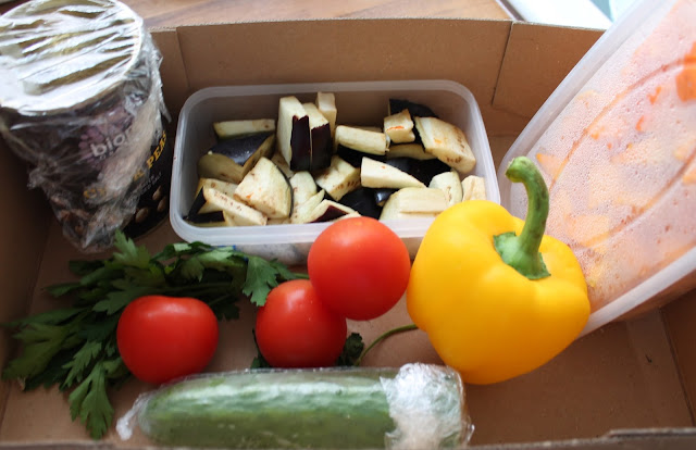food waste - chickpeas, butternut squash, aubergine, tomatoes, cucumber and pepper