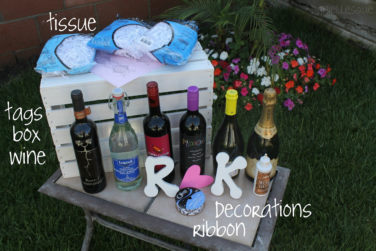Daniellesque Bridal Shower Gift Basket Of Firsts. Year Of Firsts Wine ...