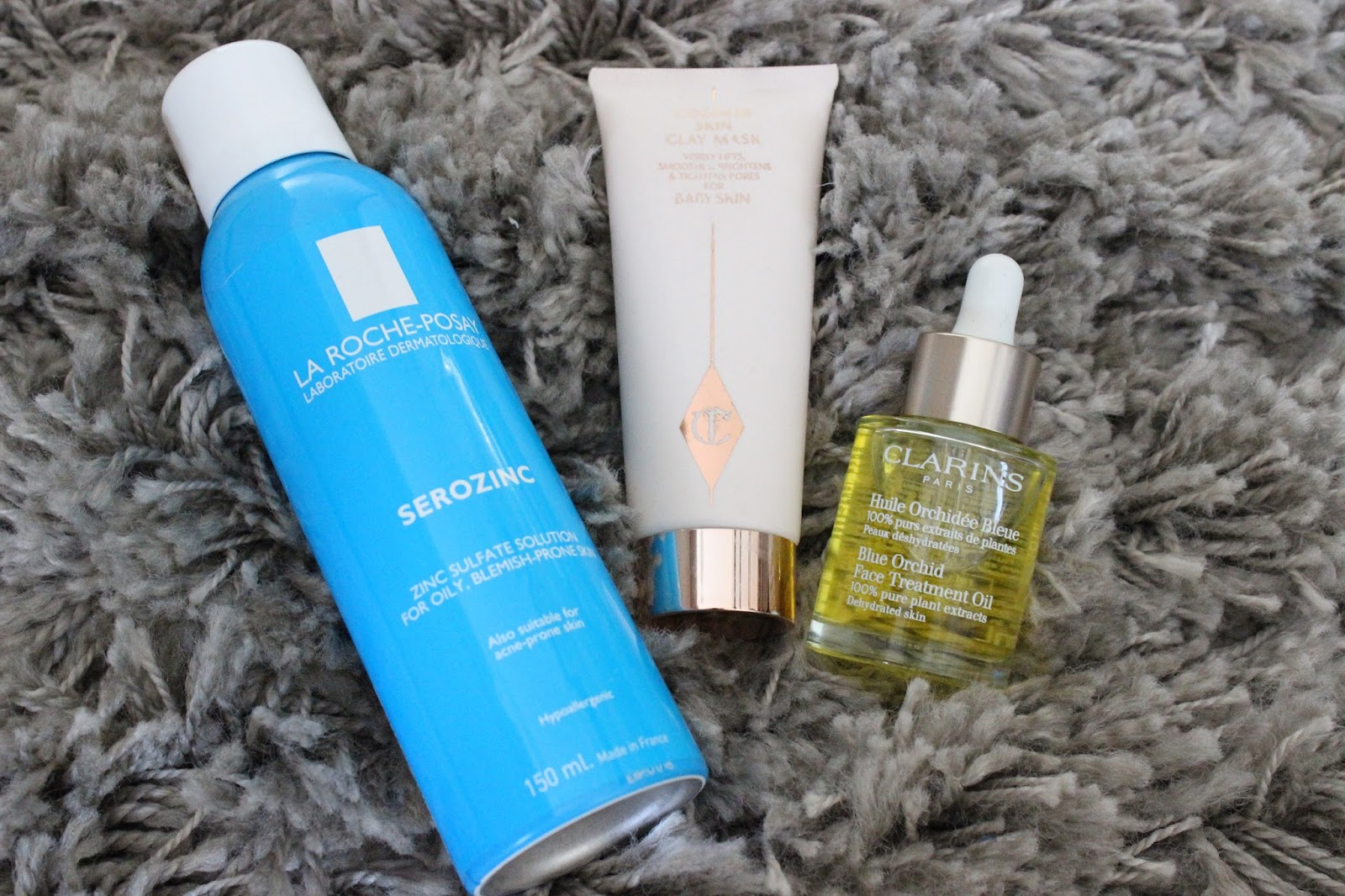 Skincare Wonders - La Roche Posay Serozinc, Clarins Blue Orchid Face Oil, Charlotte Tilbury Goddess Skin Clay Mask