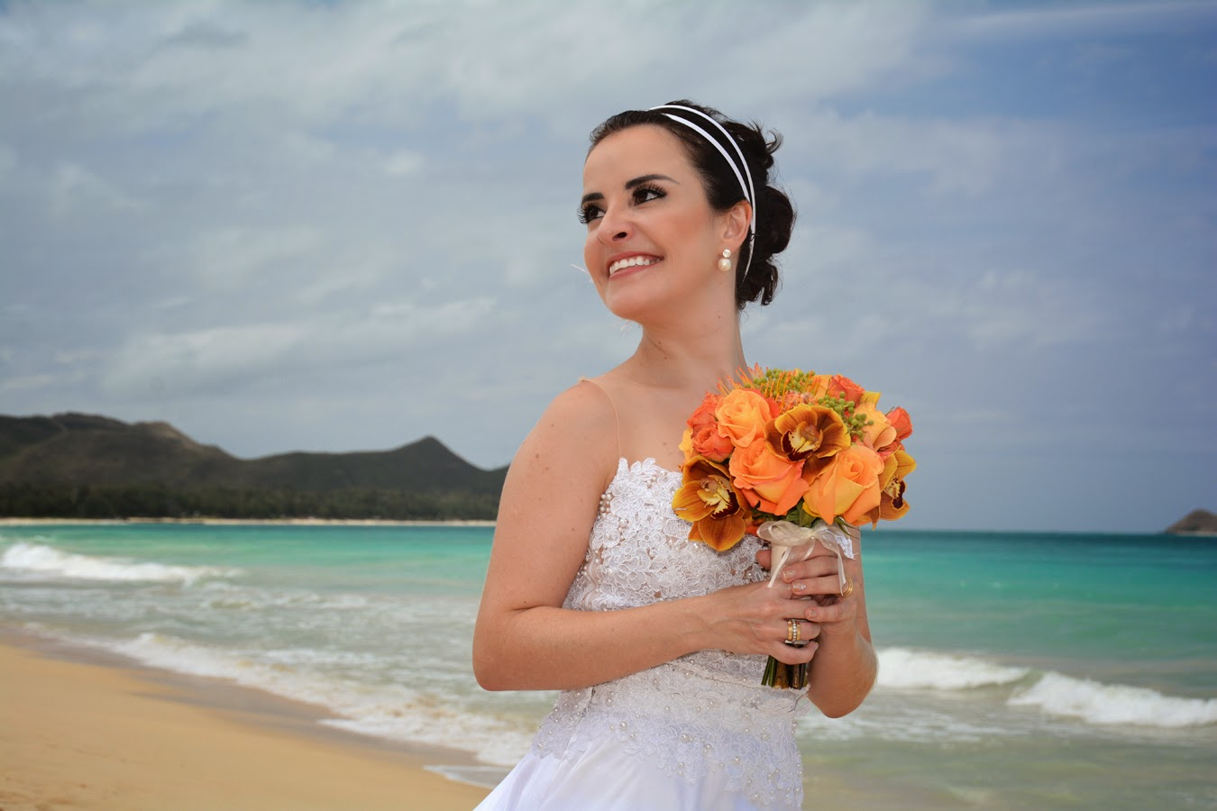 Bride at Waimanalo Beach