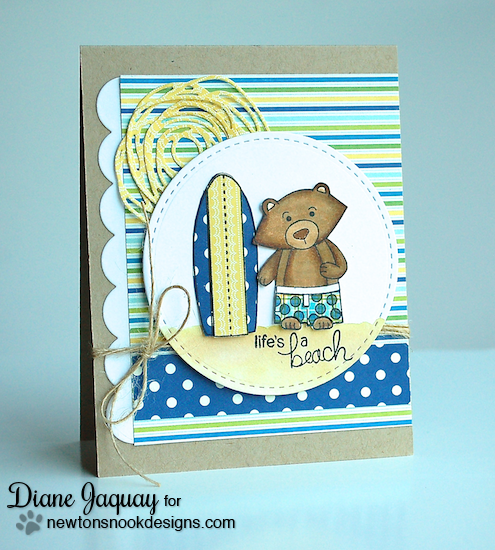 Surfboard and Bear beach card by Diane Jaquay for Newton's Nook Designs | Beach Party Stamp Set