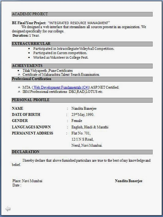 fresher resumes format - Freshers Resume Sample