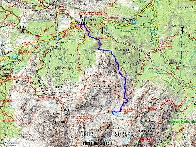 sentiero CAI per il lago sorapiss