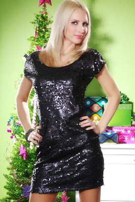 BLACK SHIMMERY SEQUIN STUDDED FRONT CAP SLEEVES SEXY MINI DRESS