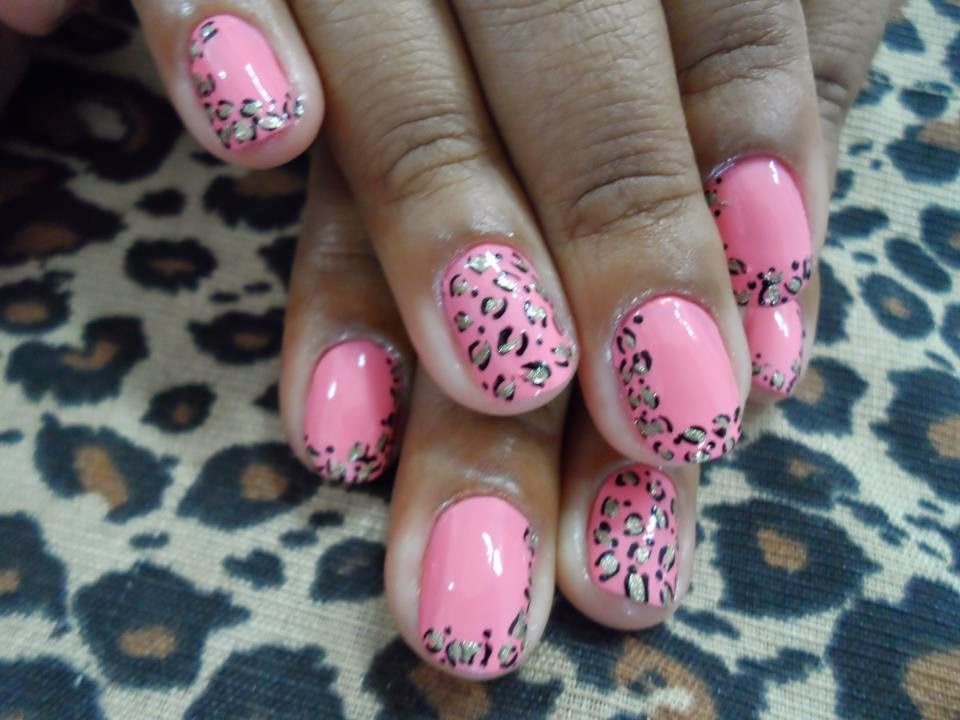unhas decoradas rosa com tigrados