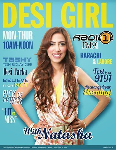 Rj Natasha S Khan of FM 91 on the cover of Desi Girl magazine