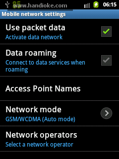 Mobile networks settings - Use packet data