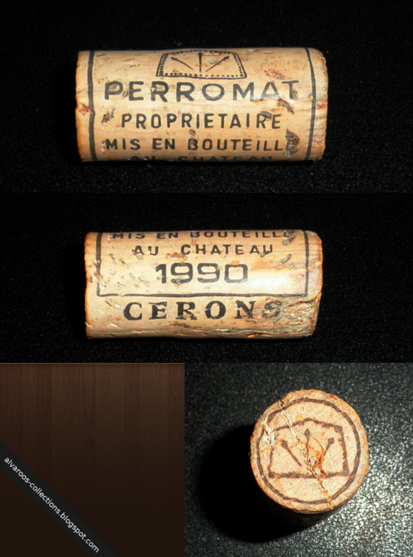 Wine cork: Perromat Proprietaire Cerons 1990