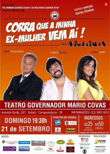 Comédia com Kadu Moliterno é destaque no Teatro Mario Covas neste domingo dia 21