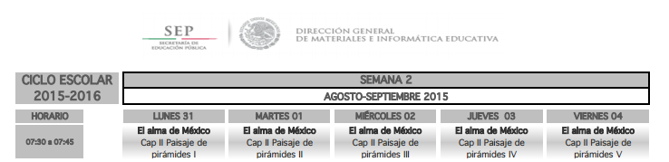 PROGRAMACIÓN TELEVISIVA DE LOS MESES AGOSTO, SEPTIEMBRE Y OCTUBRE 2015