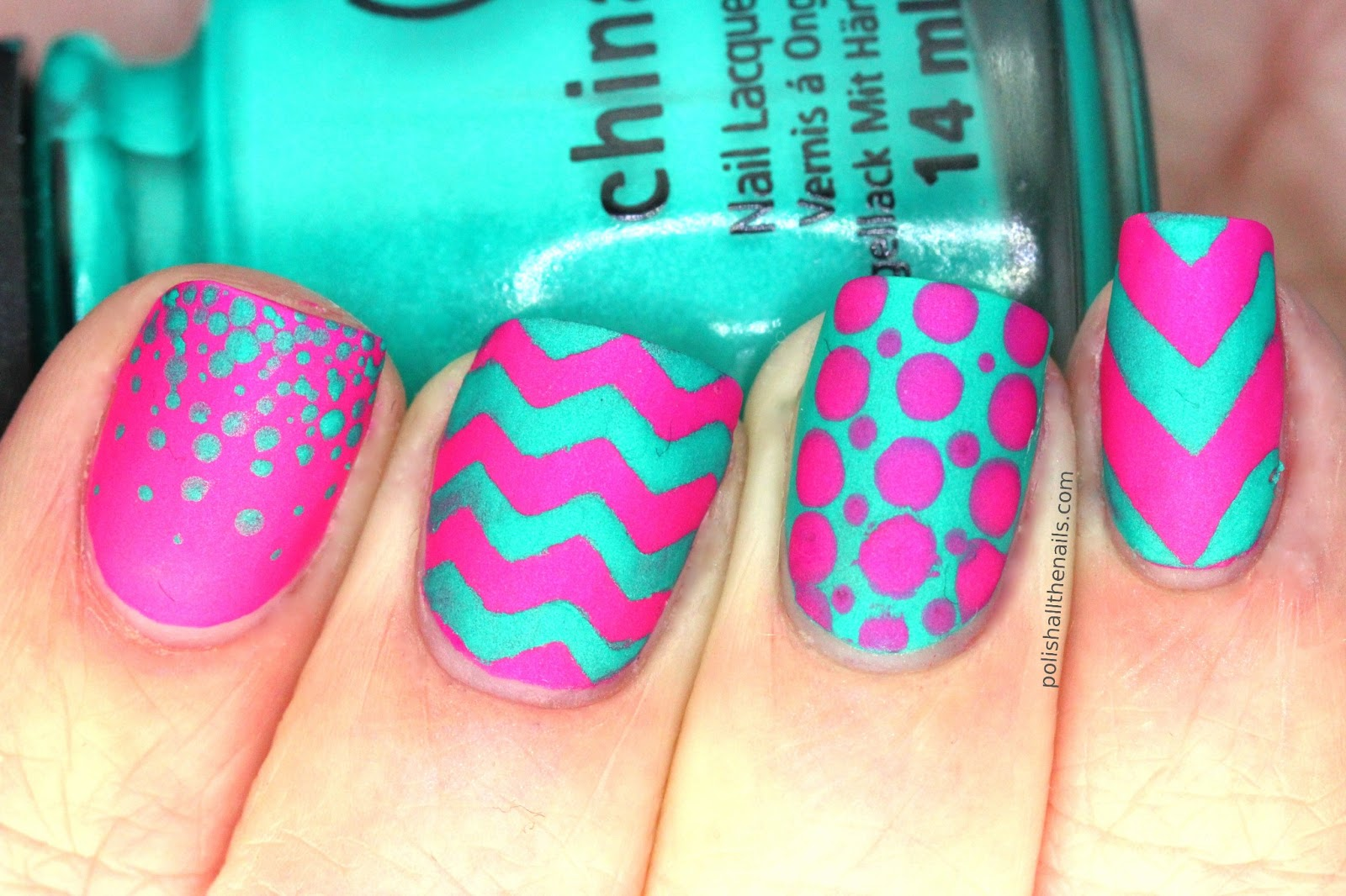 Teal and Pink Nail Design