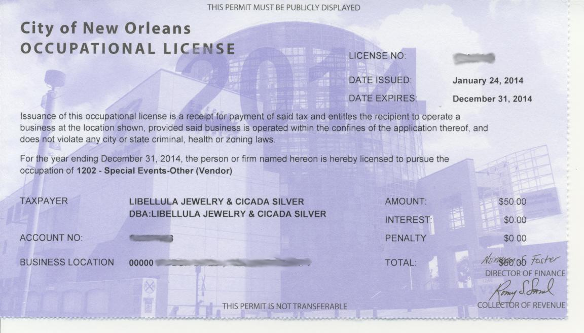 NOLA occupational license