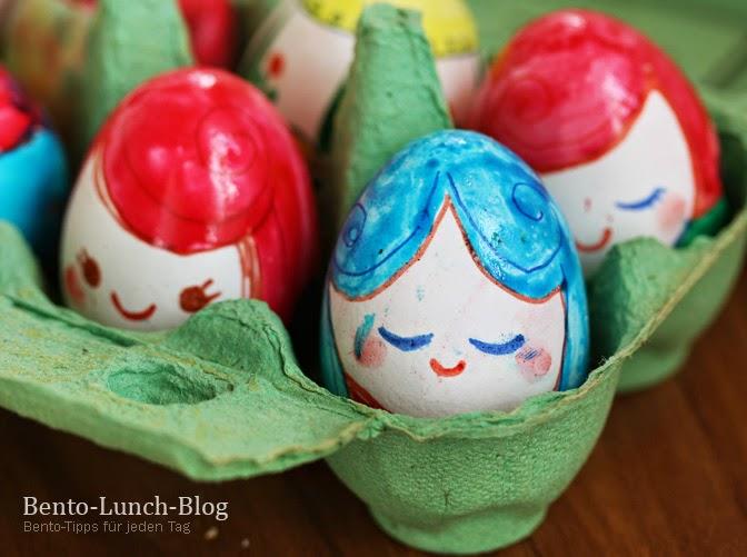 Bento lunch blog kokeshi ostereier bemalen - Eier kochen dauer ...