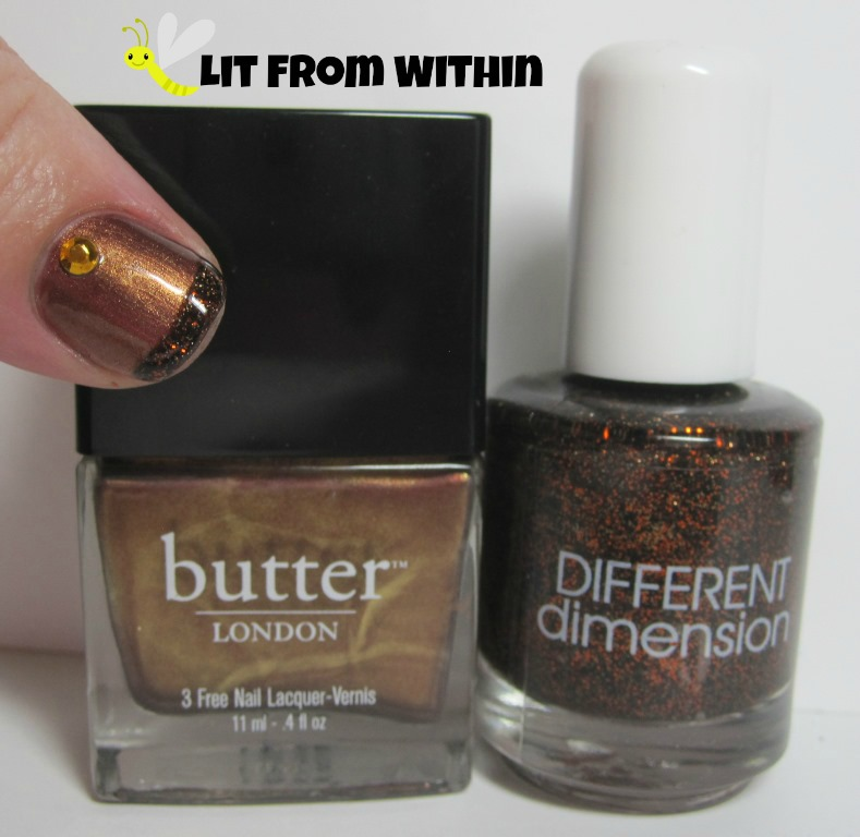 Bottle shot:  Butter London Trifle, and Different Dimension It Rubs The Lotion On Its Skin.