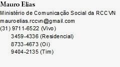 MINISTÉRIO DE COMUNICAÇÃO - FORANIA SANTO ANTONIO DE VENDA NOVA