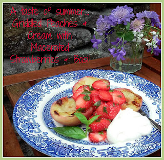 Griddled Peaches with Macerated Strawberries, Basil & Cream