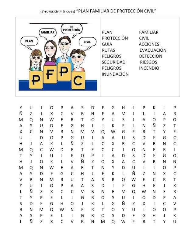 Sopa de letras plan de protección civil