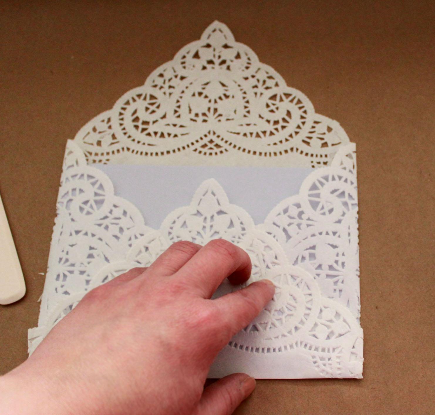 Laurl Designs: Basic Paper Doily Envelope Liner for Wedding Invitations