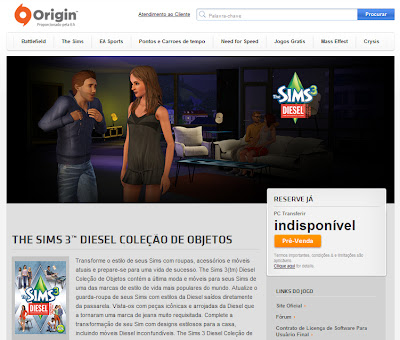 Pré-venda do The Sims 3 Diesel Coleção de Objetos