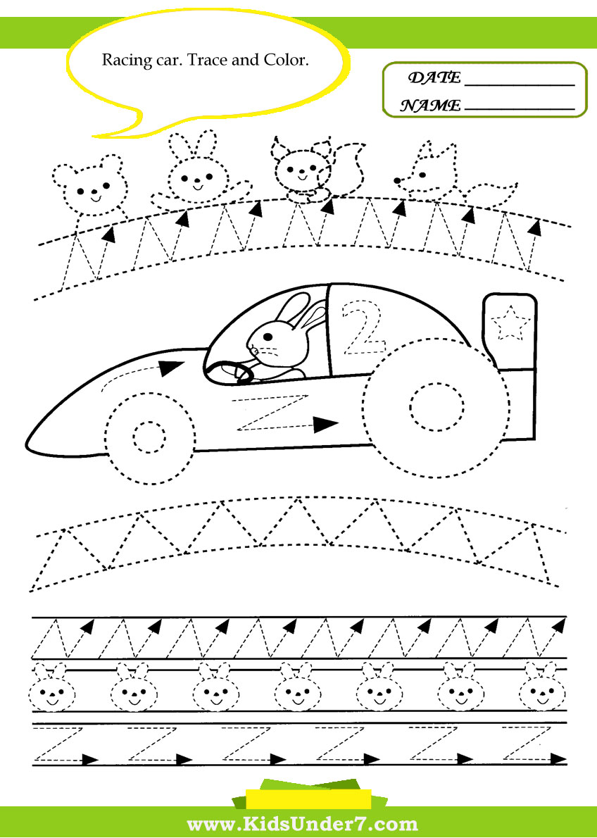 math worksheet : kids under 7 trace and color cars : Tracing Lines Worksheets For Kindergarten