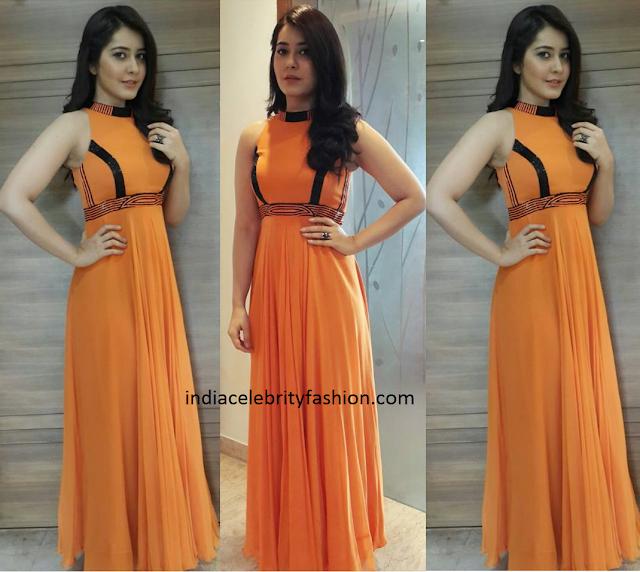 Raashi khanna in an Orange Dress