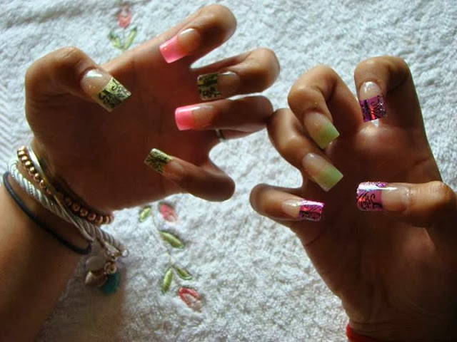 hot pink mettalics with the citrine gold and mixed it with some neon peachblow and avocado green pastels. HOT HOT HOT!