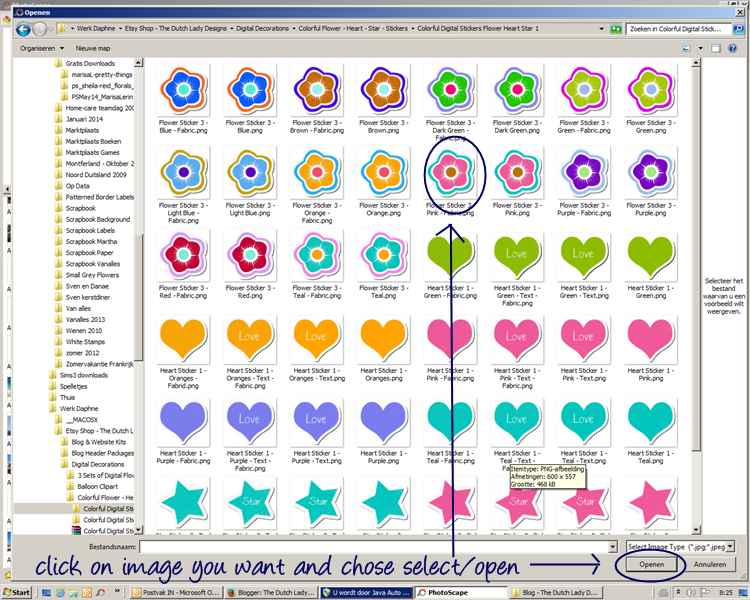 go to the folder in which you keep your clipart and decorations then select the clipart image you want to use to decorate your photo