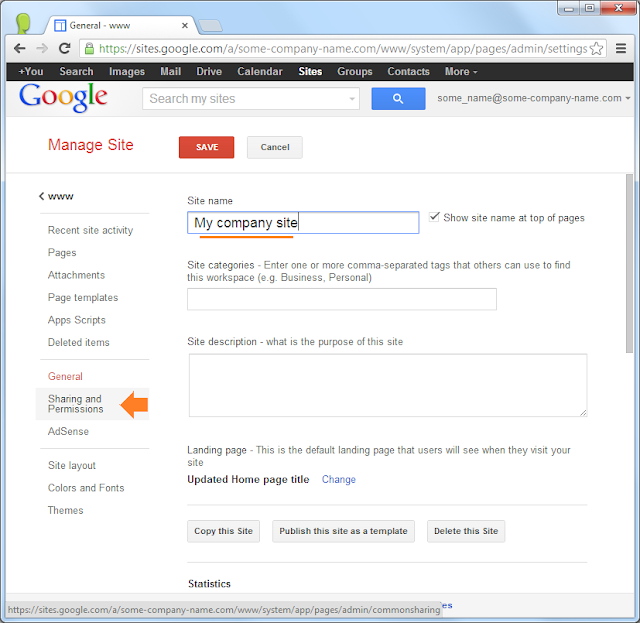 Google Sites: make site public