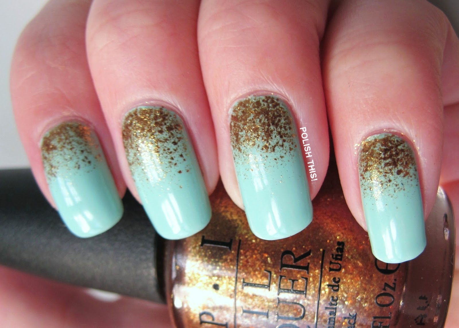 Essie Mint Candy Apple with OPI GoldenEye - Polish This!