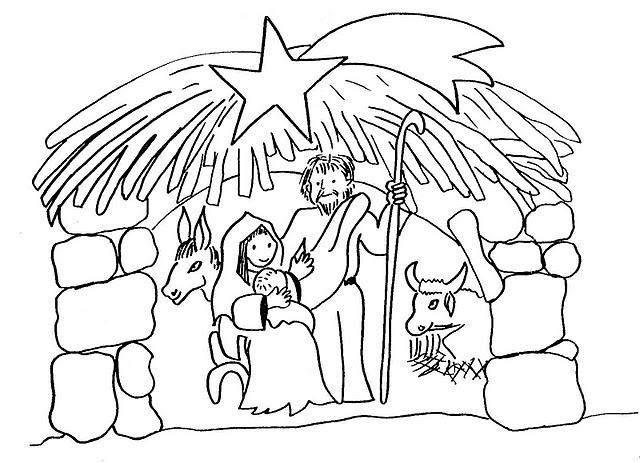 PARA COLOREAR: Dibujos de Pesebre navideño