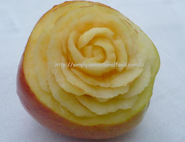 Apple and carrot roses fruit vegetable carving