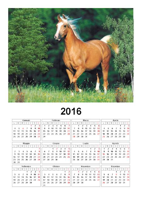 Calendario 2016 - cavallo