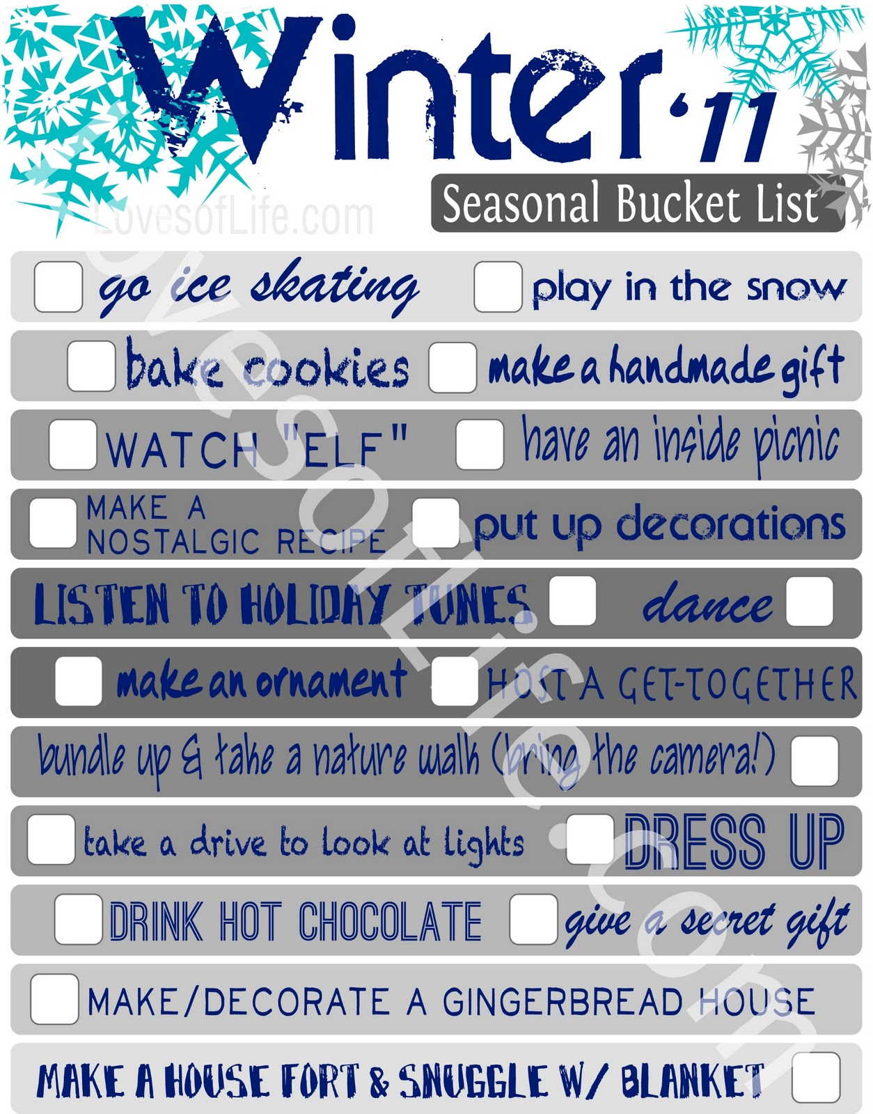 Loves of Life: Winter Bucket List Printable