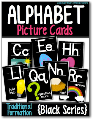classroom alphabet cards with a bold black background