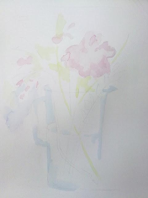mancha de tonos claros para flores y jarra