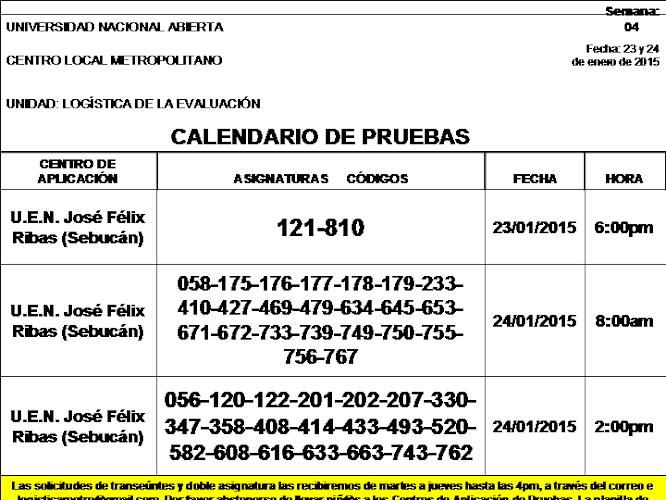CENTRO DE PRESENTACIÓN EN CARACAS. VIERNES 23 y SÁBADO 24 DE ENERO 2015