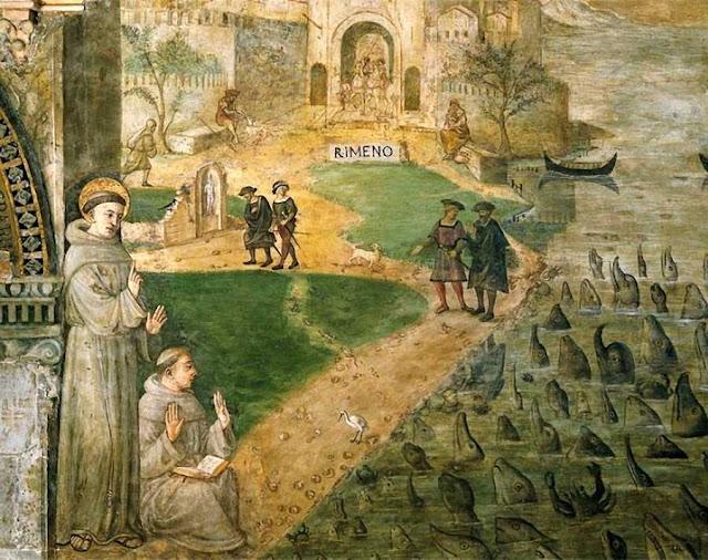 Santo Antônio prega aos peixes, mais sensíveis que os heréticos, escola de Girolamo Tessari, 1518