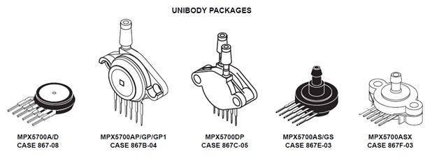 PRESSURE SENSOR MPX5700AP FREESCALE SEMICONDUCTOR SENSOR 867B-04-6
