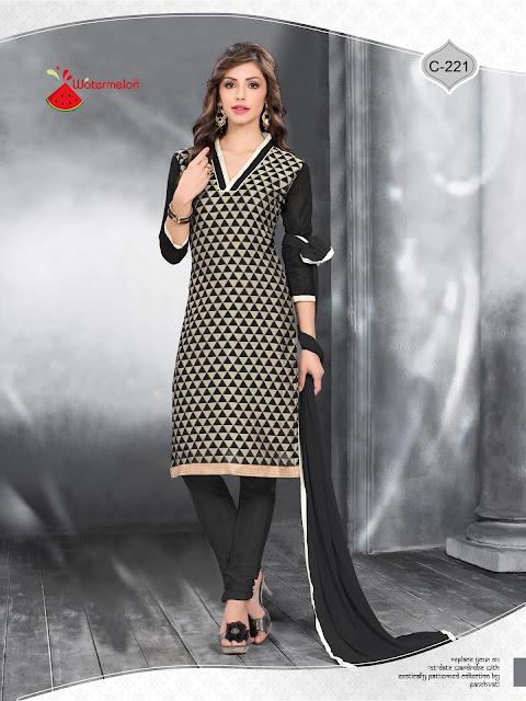 Waiting Call – Pure Banarasi Silk Churidar Dress Material