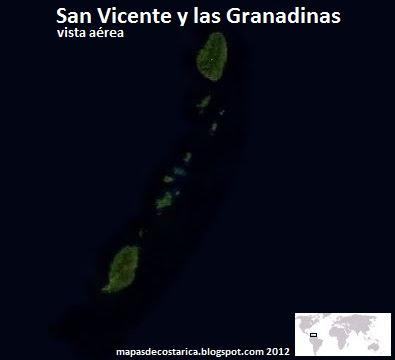 Mapa de San Vicente y las Granadinas , vista aérea