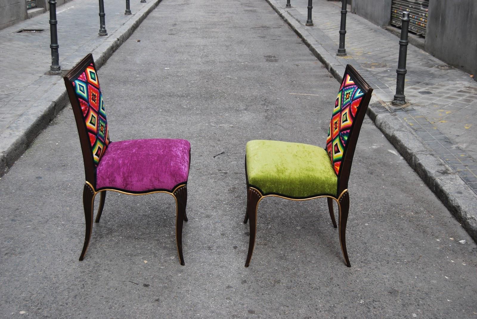Sillas tapizadas con tela de motivos mejicanos la tapicera for Sillas negras tapizadas