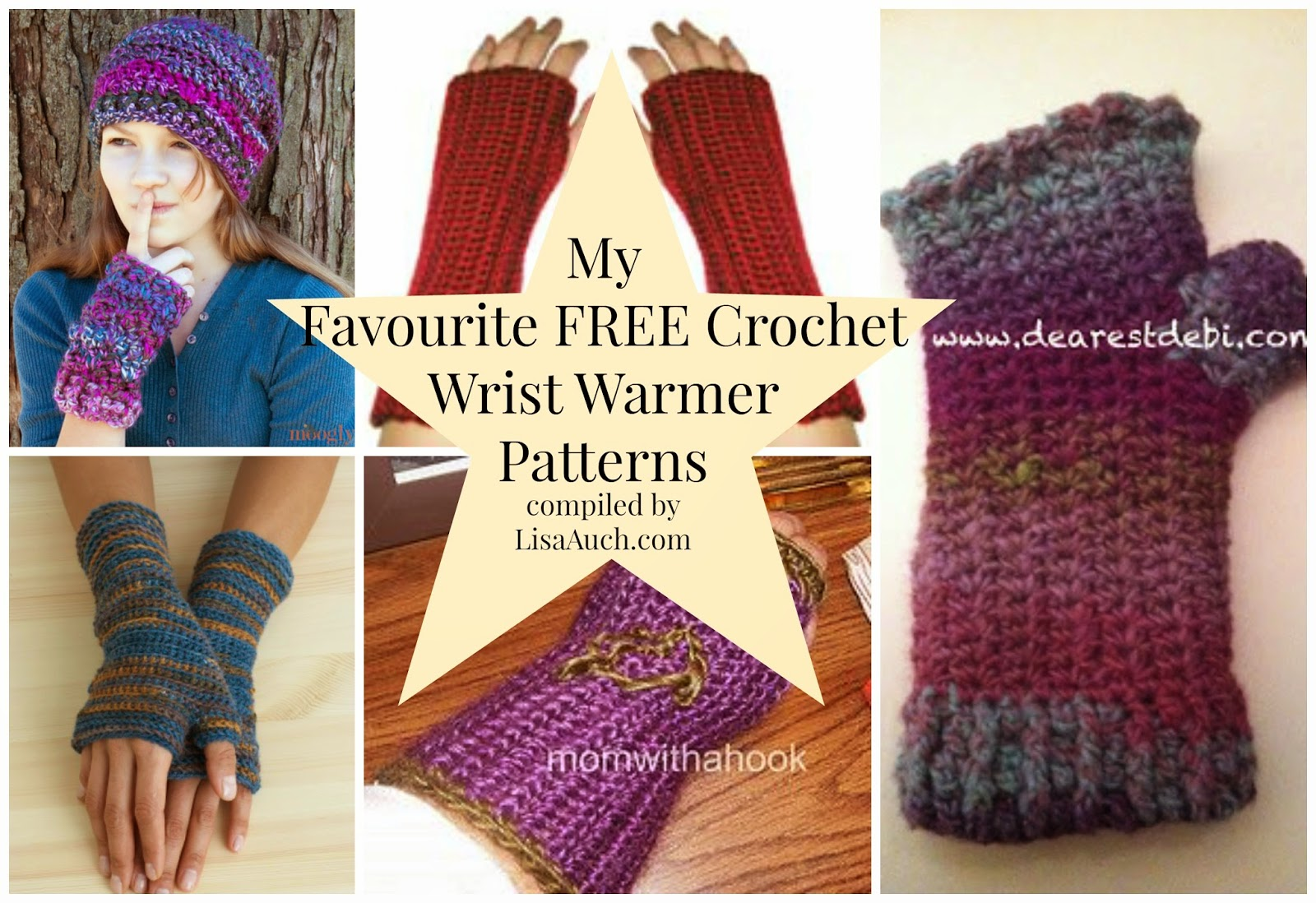 crochet Wrist Warmers Fingerless gloves  Free Crochet Patterns