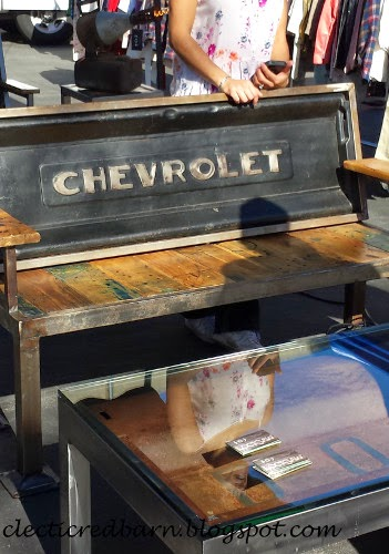 Rose Bowl Flea Market - bench with tailgate