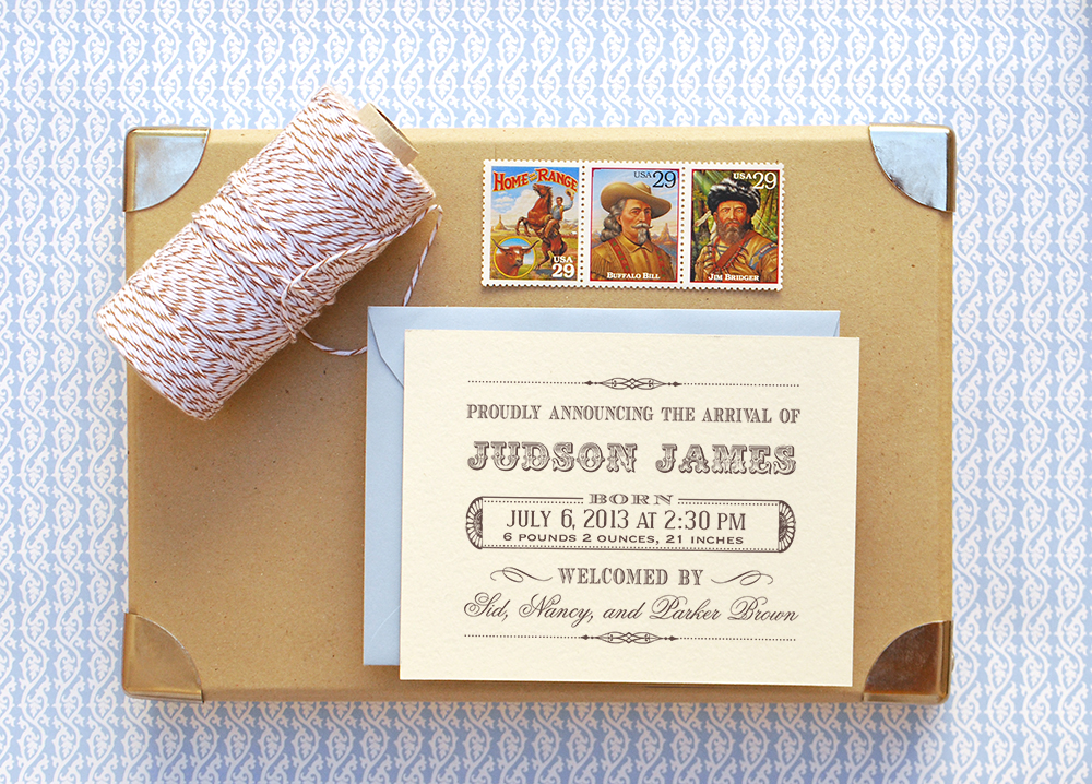 Antiquaria Brand New The Birth Announcment Stamp Collection – Vintage Birth Announcement