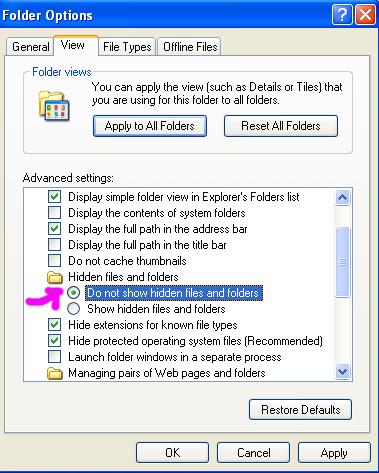 Vew lalu klik di depan tulisan 'Do not show hidden files and folder